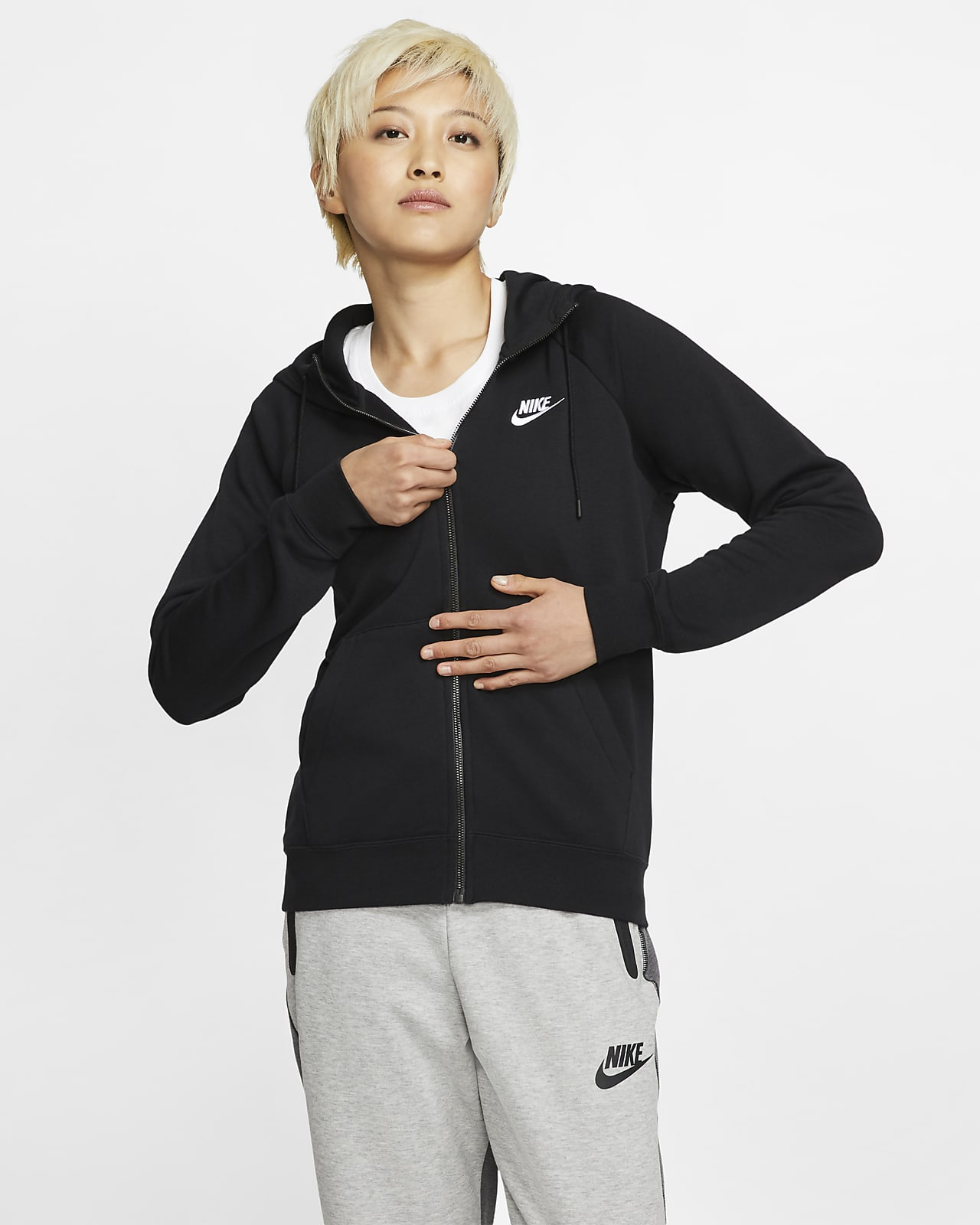 Nike Sportswear Essential Fleece-Hoodie mit durchgehendem Reißverschluss für Damen