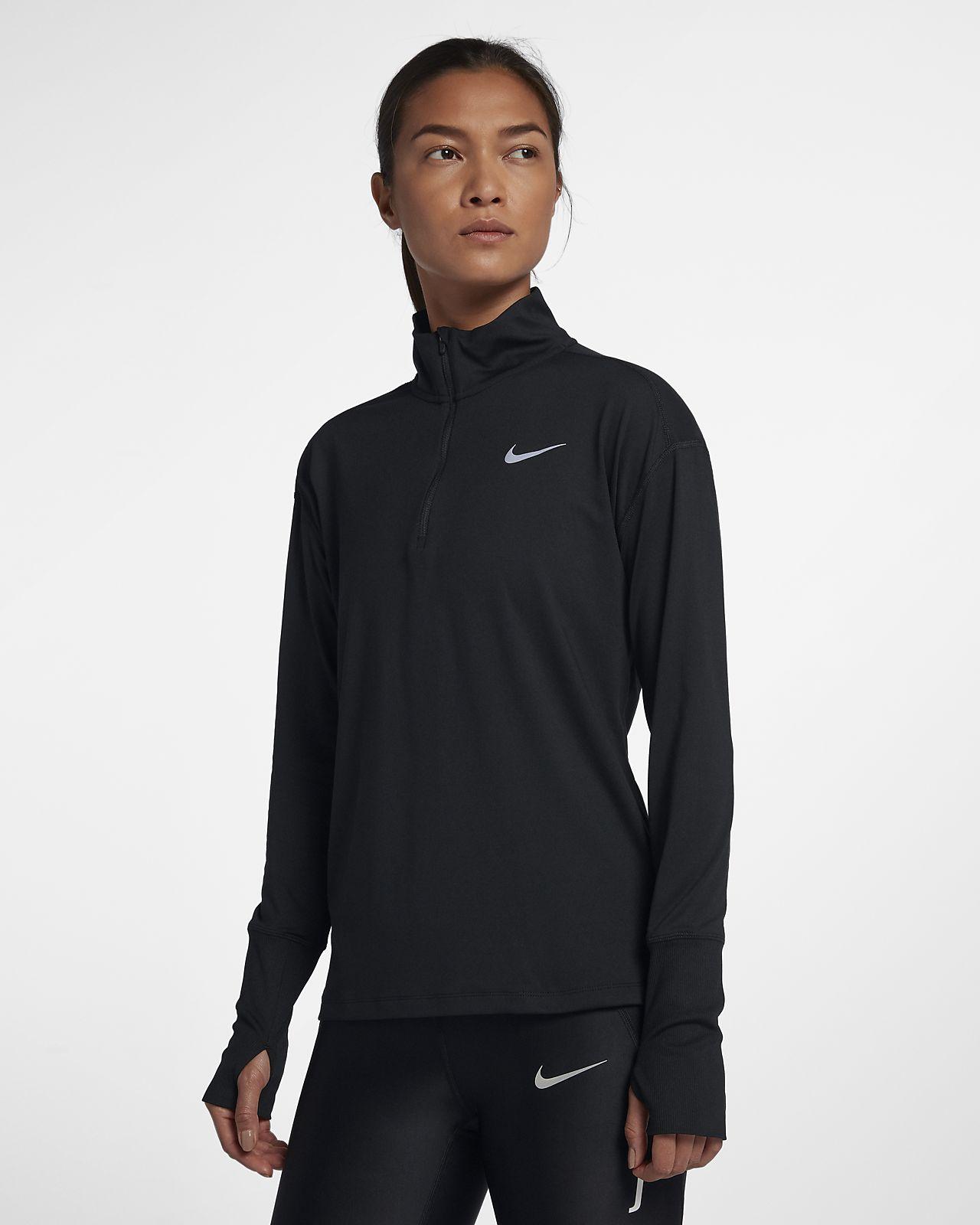 Nike-løbeoverdel med halv lynlås til kvinder
