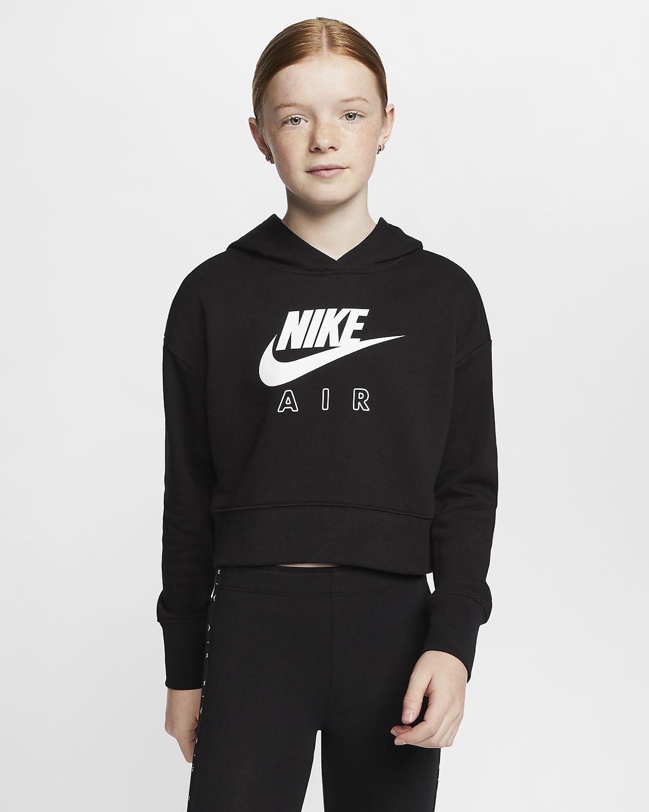 Zkrácená mikina Nike Air skapucí zfrancouzského froté pro větší děti (dívky)