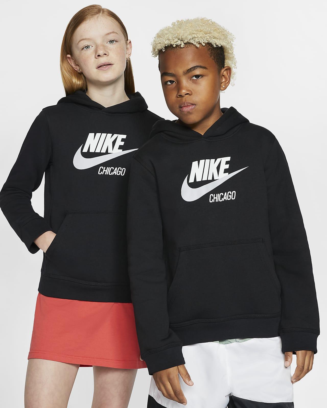 Sudadera con capucha sin cierre para niños talla grande Nike Sportswear Club Fleece Chicago