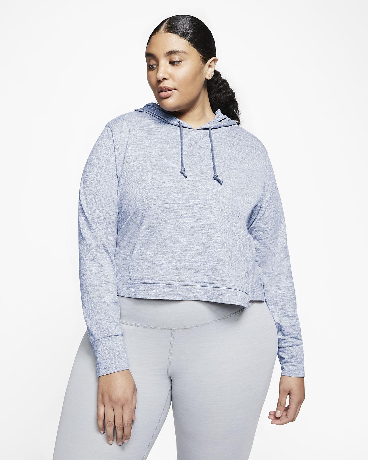 Felpa corta con cappuccio Nike Yoga (Plus Size) - Donna