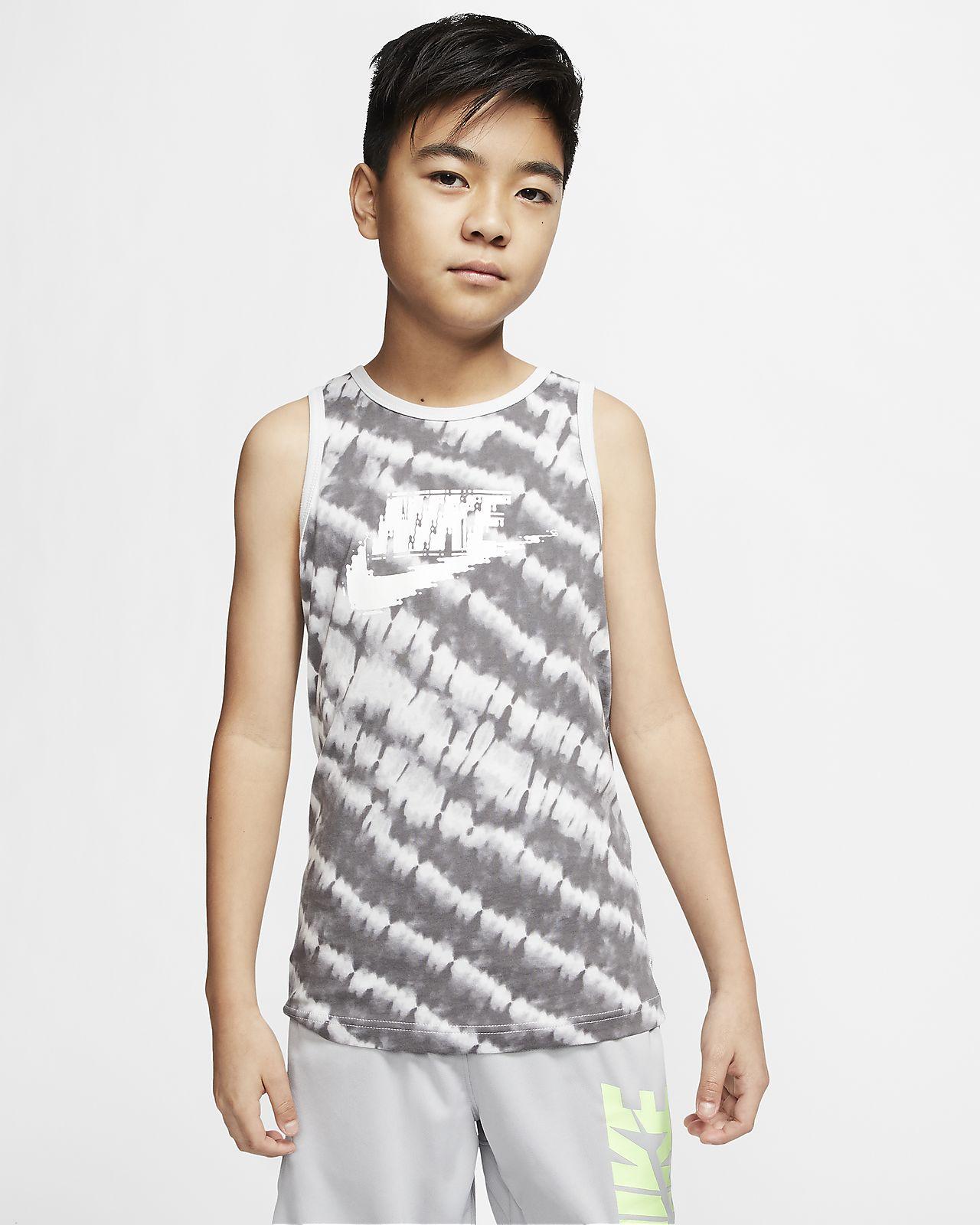 Camiseta de tirantes con teñido batik para niños talla grande Nike Sportswear