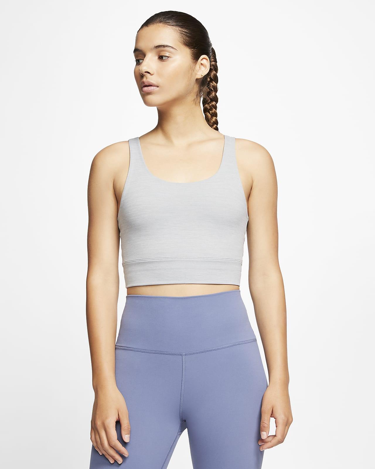 Женская укороченная футболка из ткани Infinalon Nike Yoga Luxe