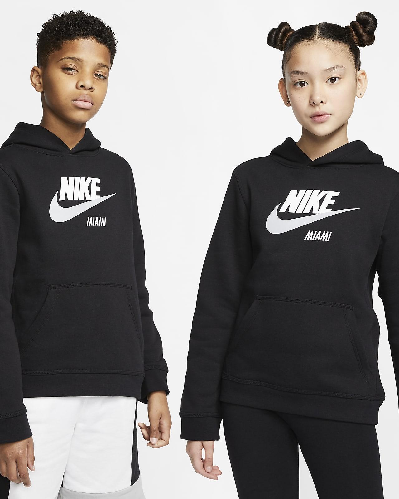 Sudadera con capucha sin cierre para niños talla grande Nike Sportswear Club Fleece Miami
