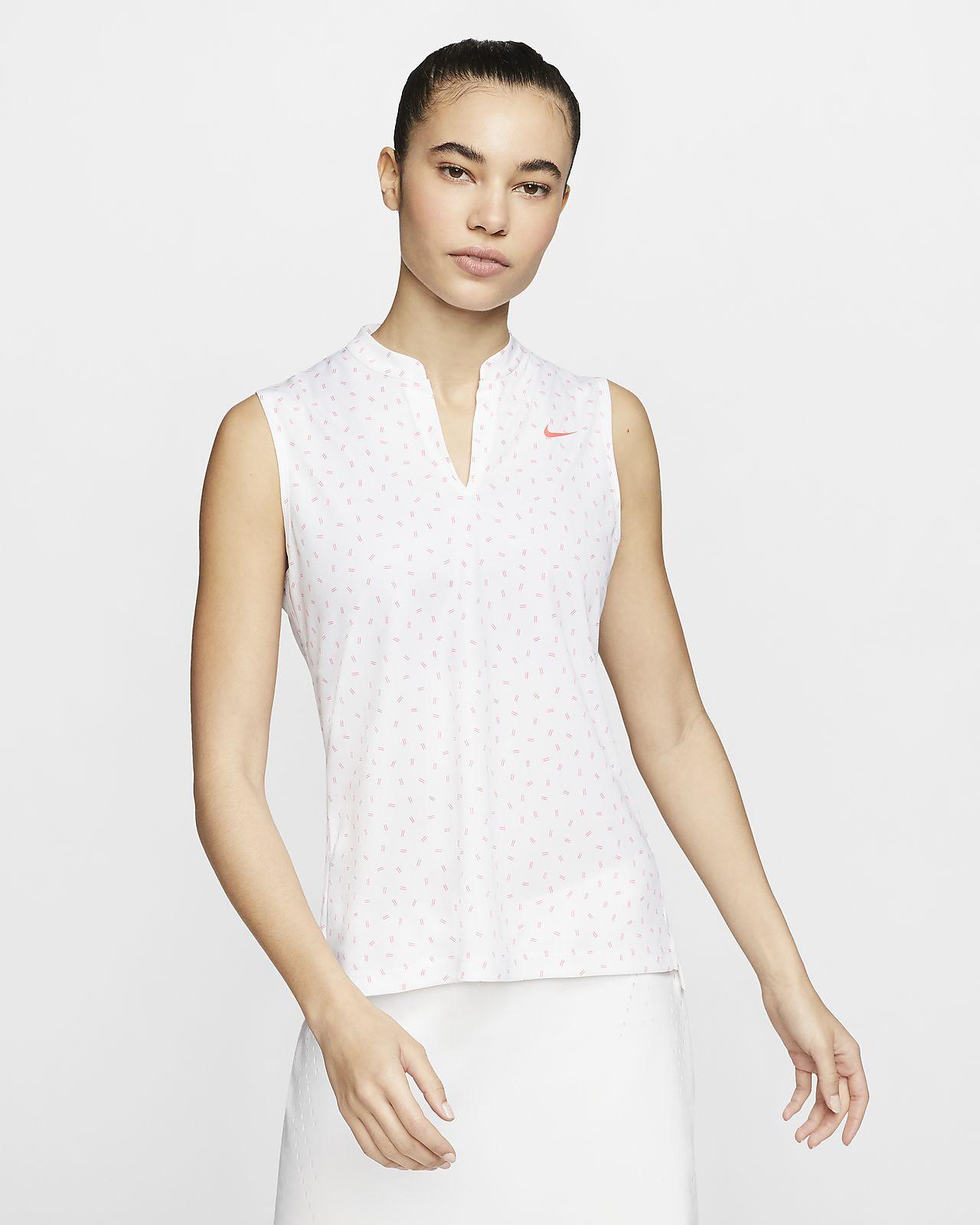 Nike Dri-FIT Victory ärmelloses Golf-Poloshirt mit Print für Damen