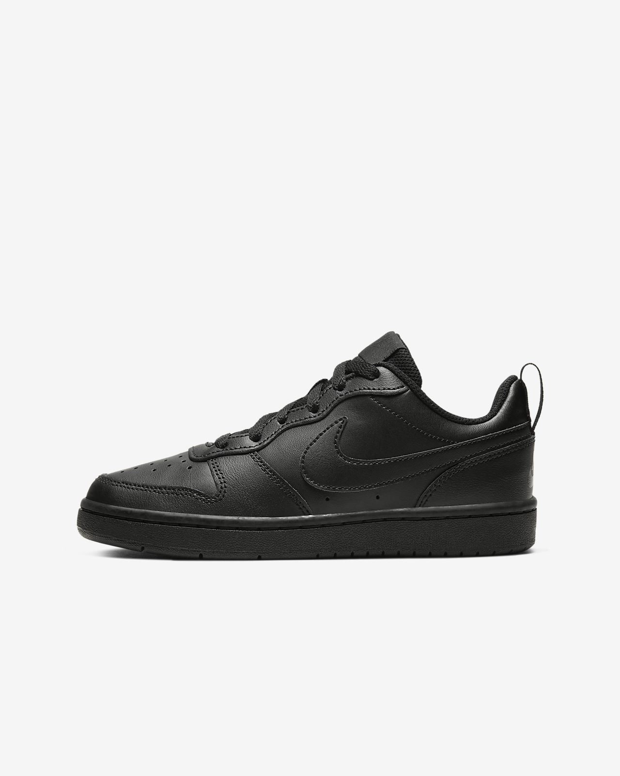 Nike Kids' Court Borough Low Grey Leather Shoes