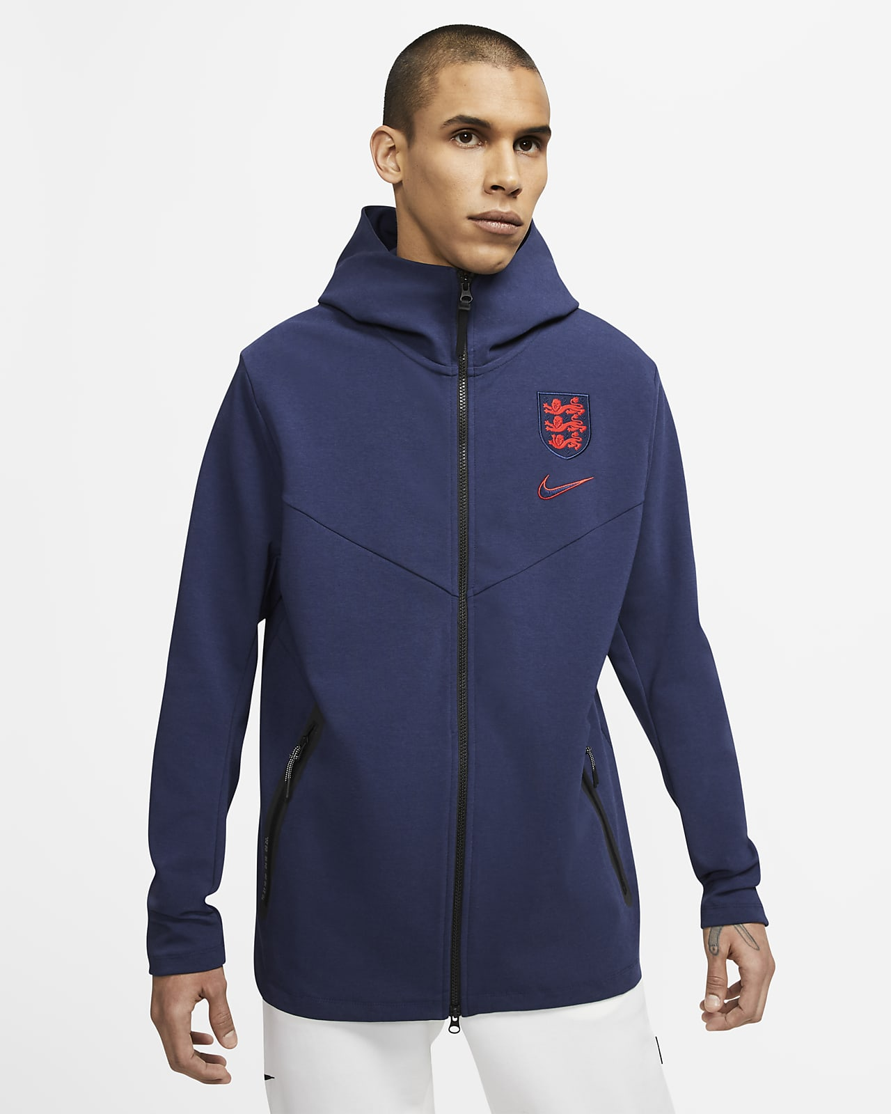 Pánská fotbalová mikina s kapucí a zipem po celé délce Anglie Tech Pack