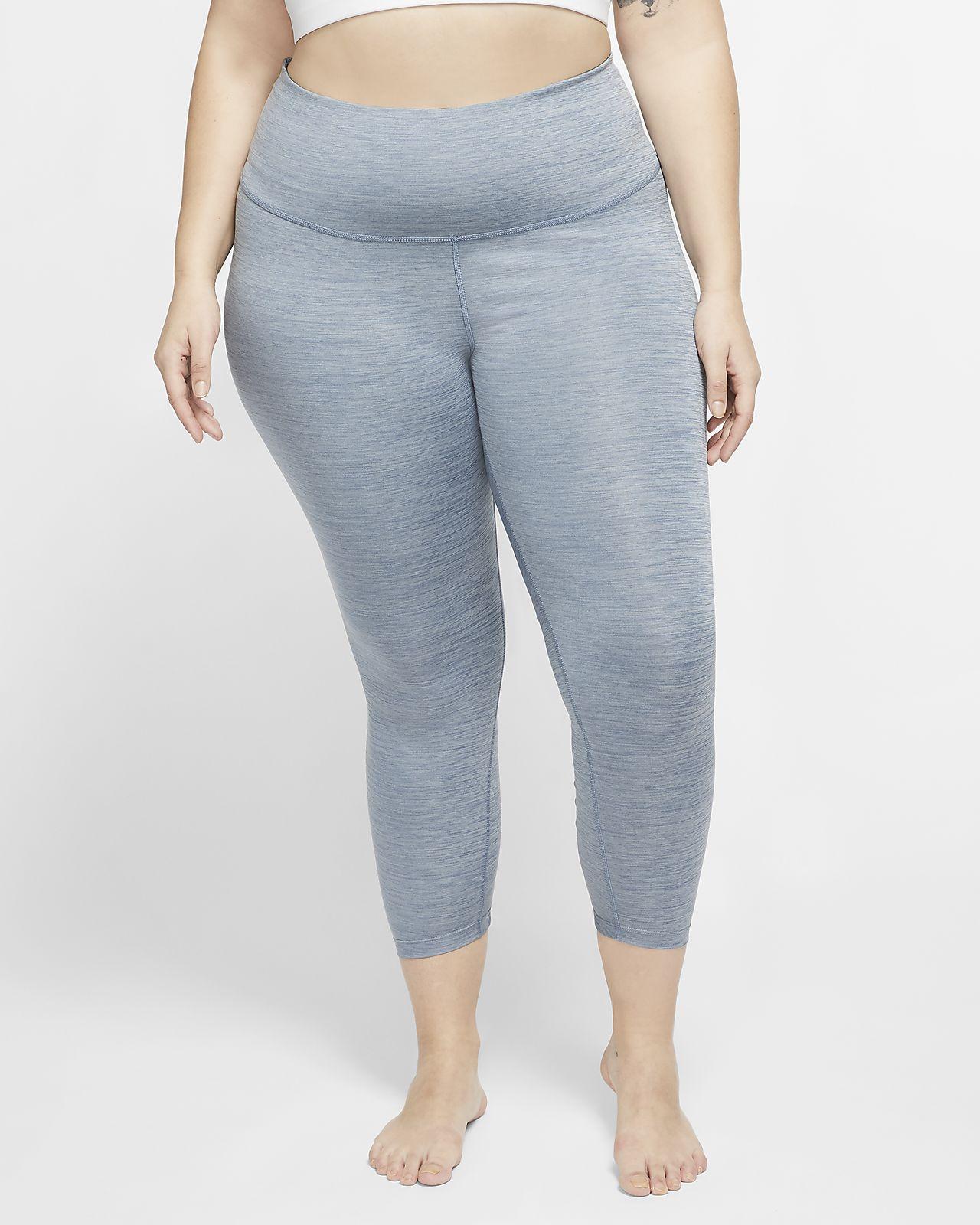 Nike Yoga 7/8 tights med rysjekant til dame (Plus Size)