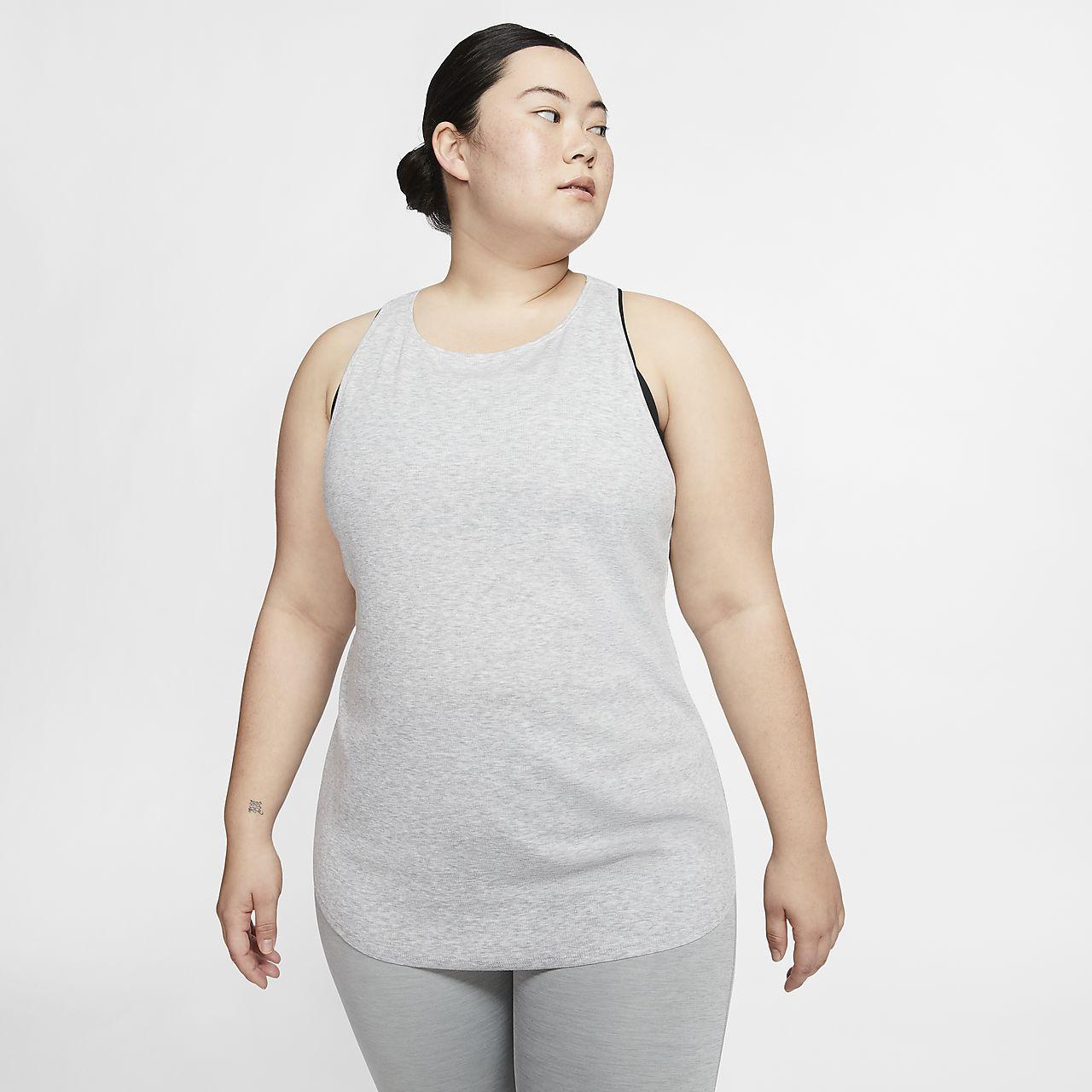 Camiseta de tirantes de tela rib para mujer Nike Yoga Luxe (talla grande)