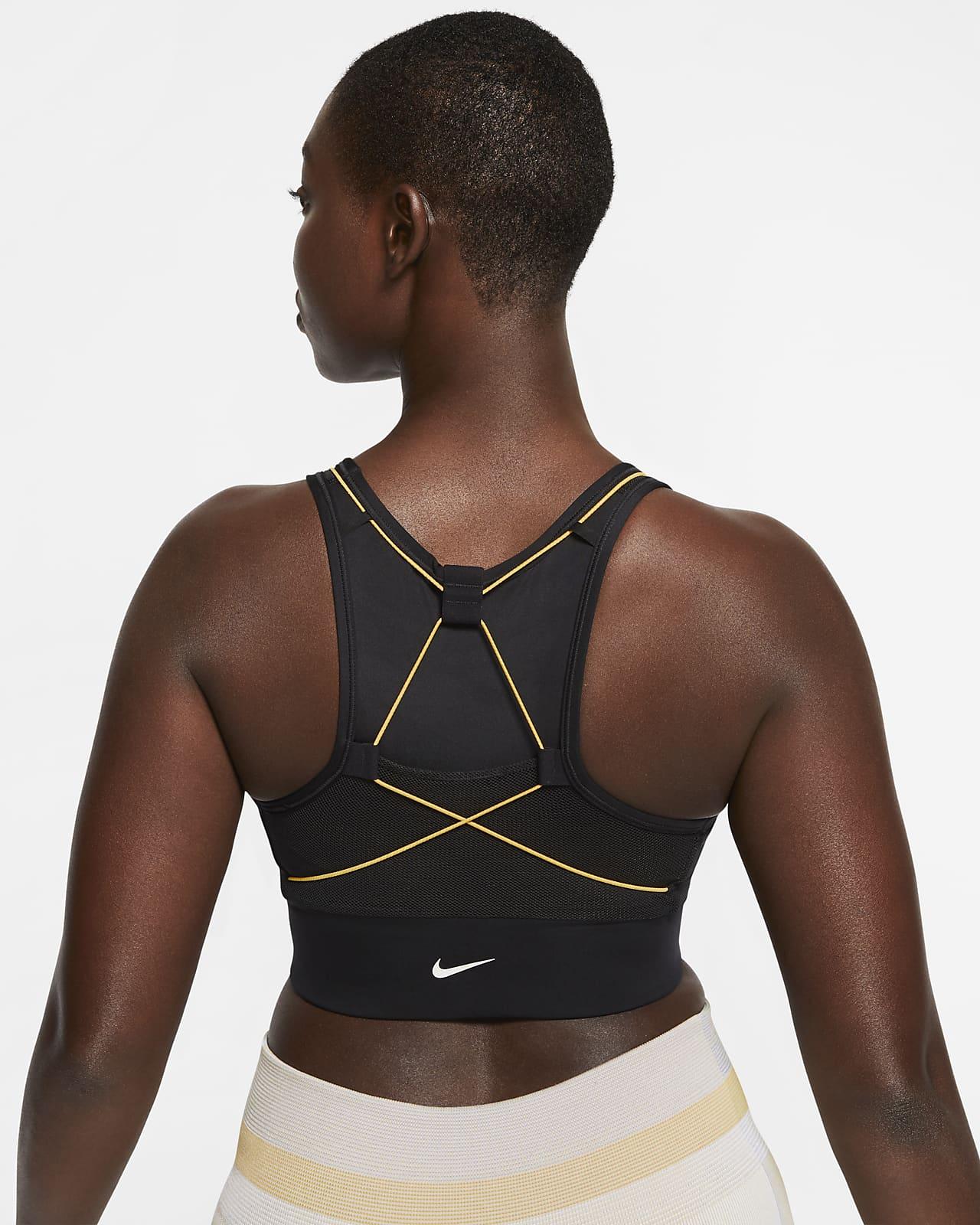 Damski stanik sportowy z kieszenią zapewniający średnie wsparcie Nike Swoosh Icon Clash