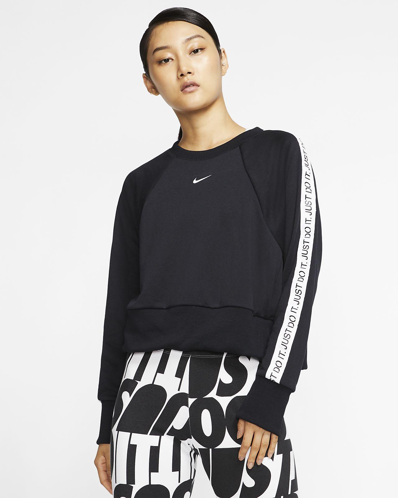 Träningströja med rund hals i fleece JDI Nike Dri-FIT Get Fit för kvinnor