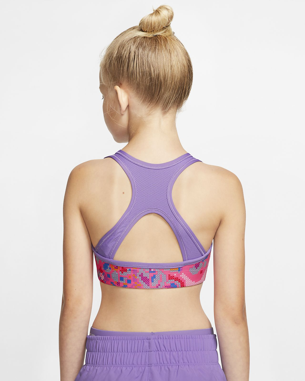 NIKE Girls Pro Dri-FIT Reversible Printed Sports Bra X-Small