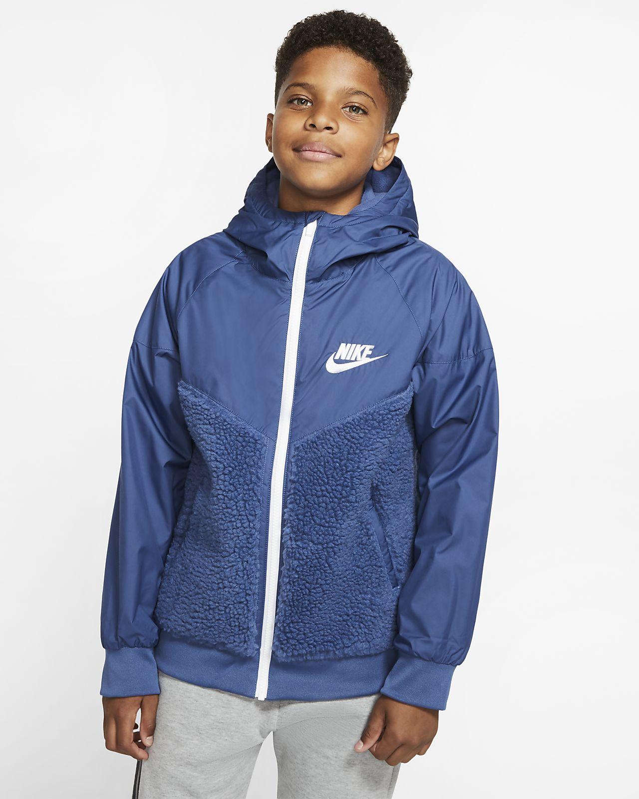 Chamarra de Sherpa para niños talla grande Nike Sportswear Windrunner