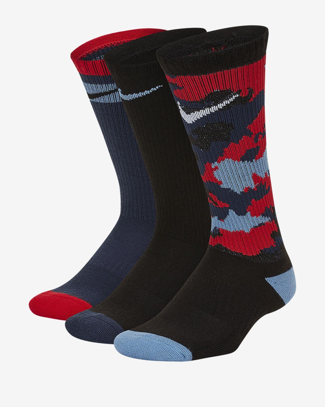 Nike Air Jordan Kids crew socks 2 pair size 3Y-5Y New