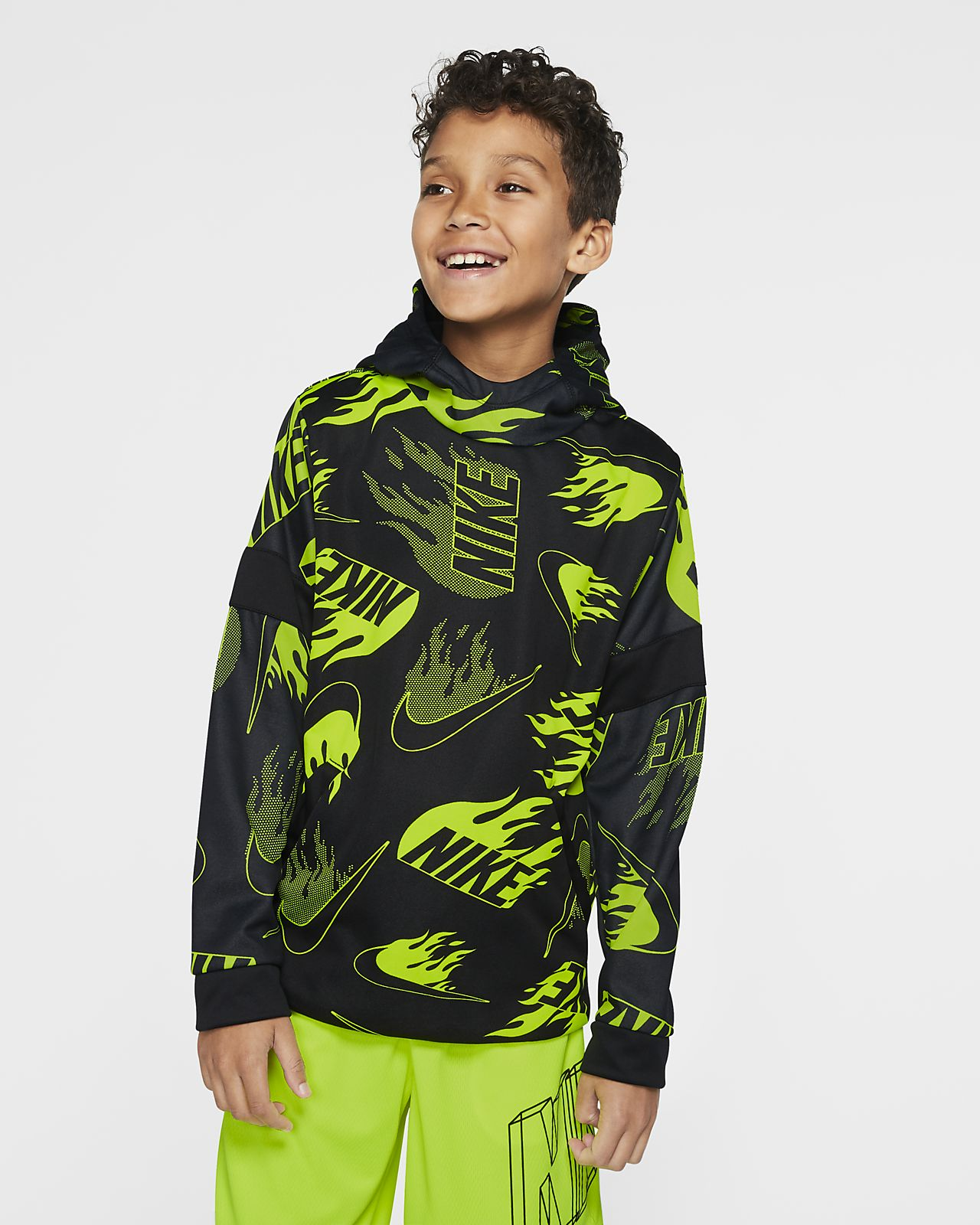 NIKE Boys Big Kids Black /& Yellow Hoodie Therma Pullover Dri-Fit Sweater-M,L,XL