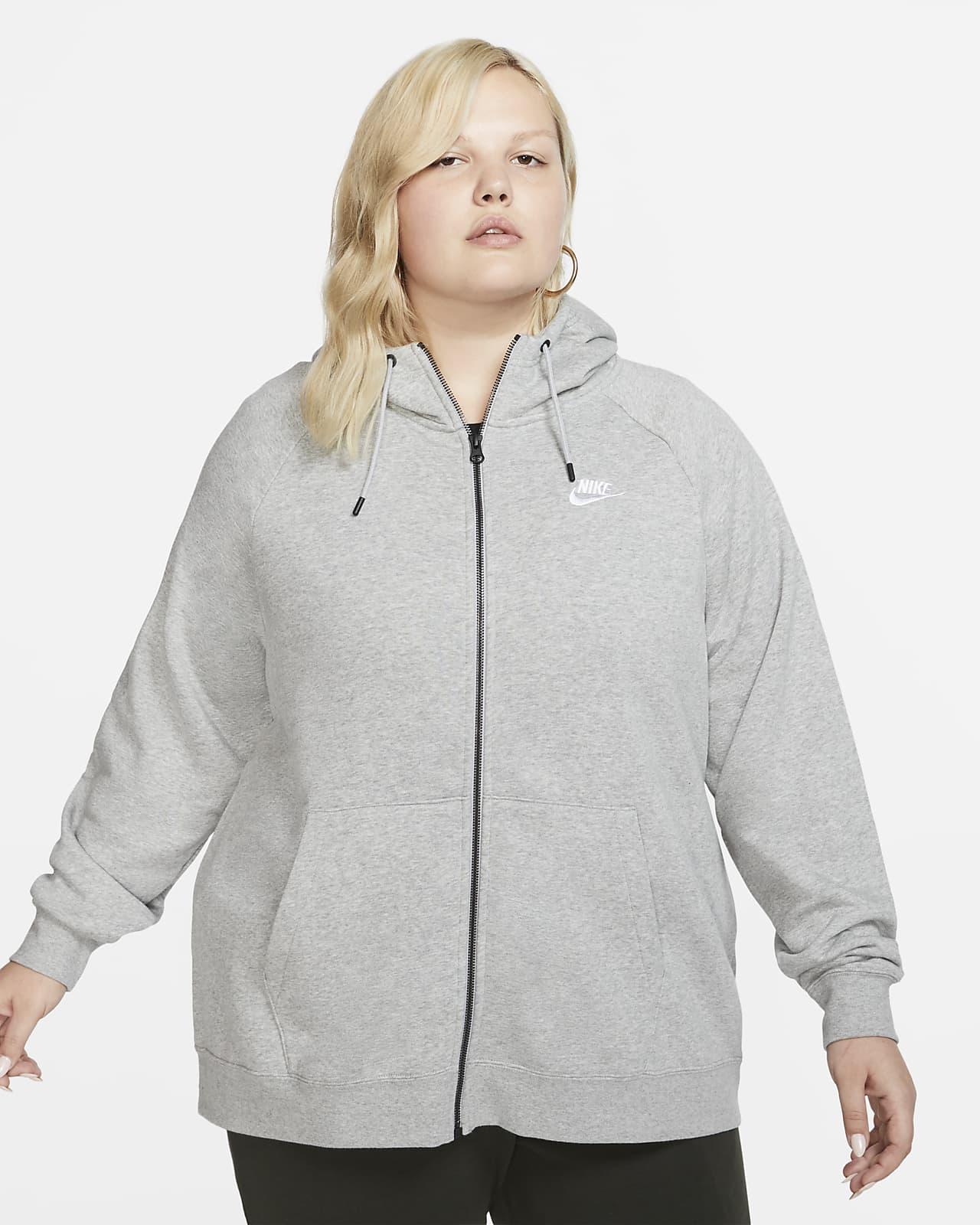 Nike Sportswear Essential hosszú cipzáras, kapucnis női pulóver (plus size méret)