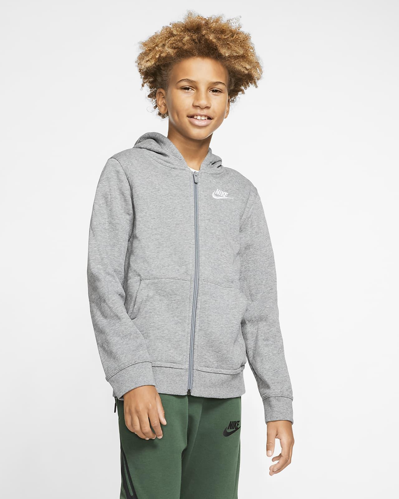 Mikina Nike Sportswear Club skapucí azipem po celé délce pro větší děti