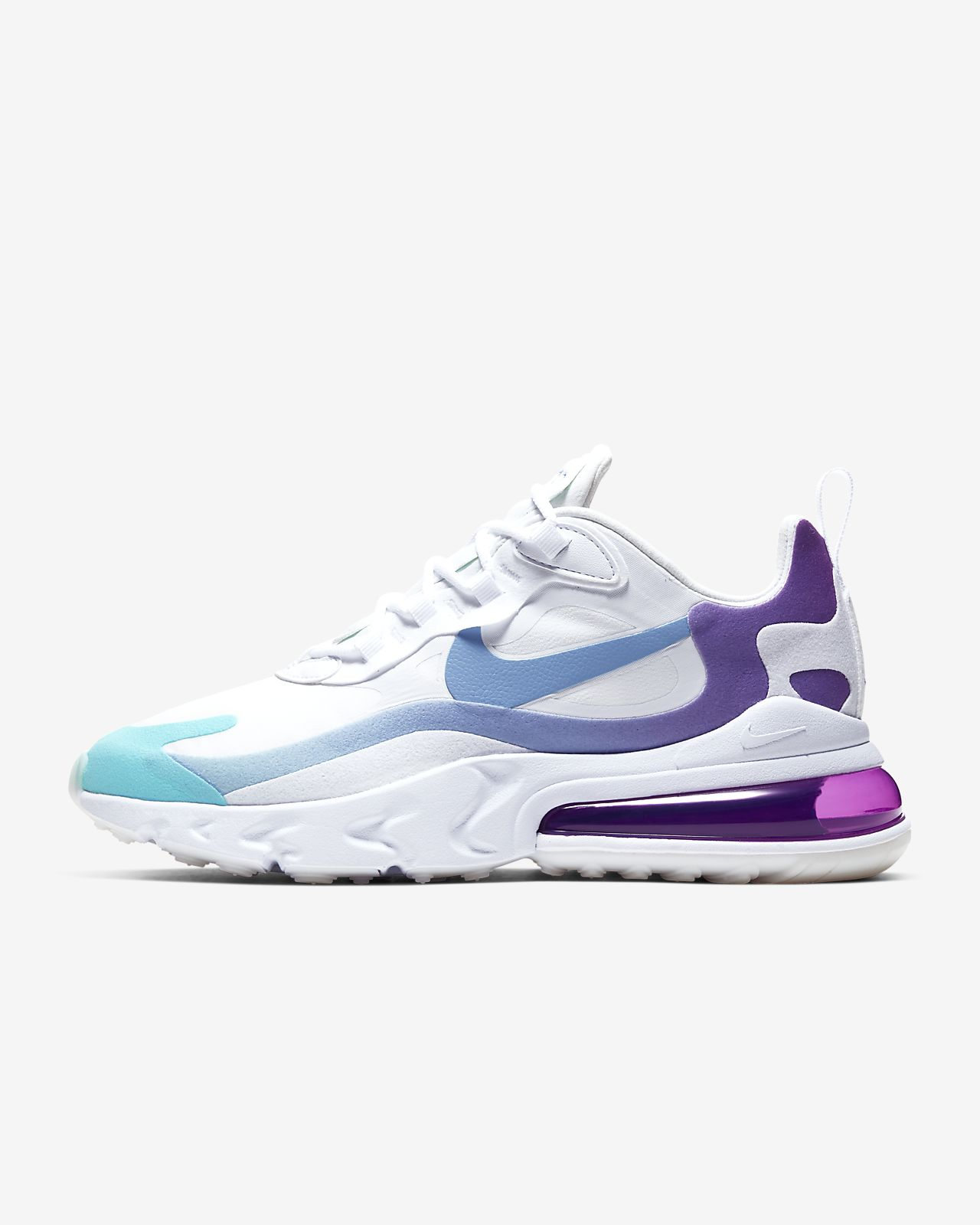 nike women's air max 270 react shoes white/blue/pink