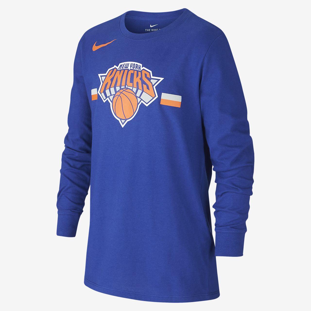 Tee-shirt NBA à manches longues New York Knicks Nike Dri-FIT Logo pour Enfant plus âgé