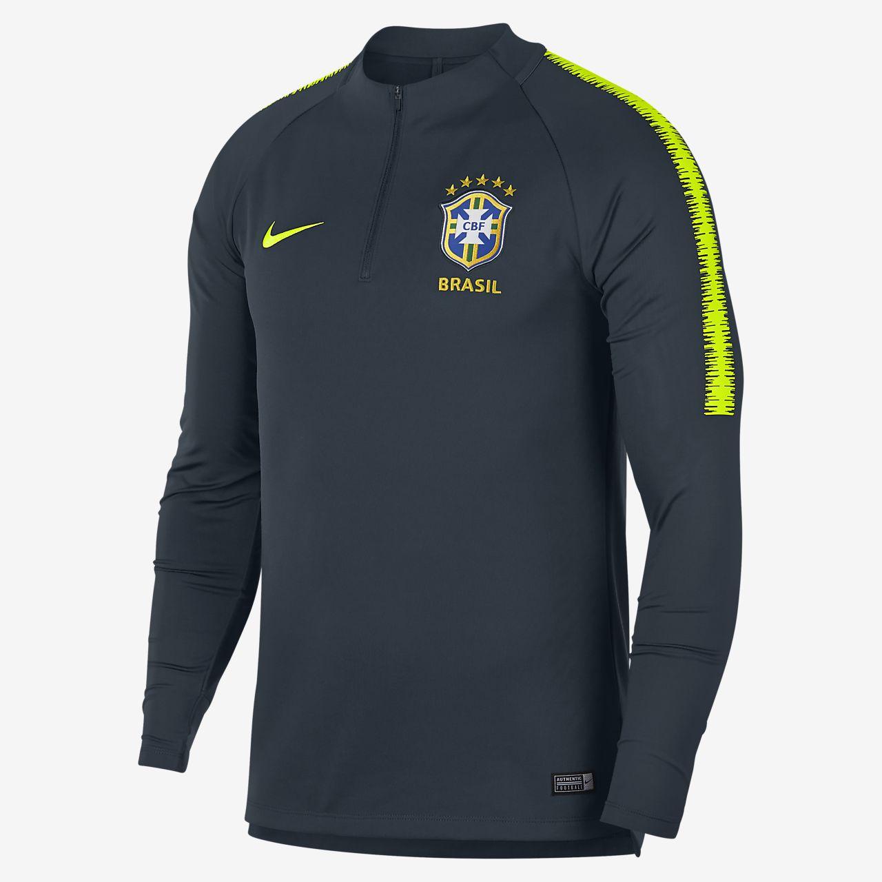 Brazil CBF Dri-FIT Squad Drill Men's Long-Sleeve Football Top
