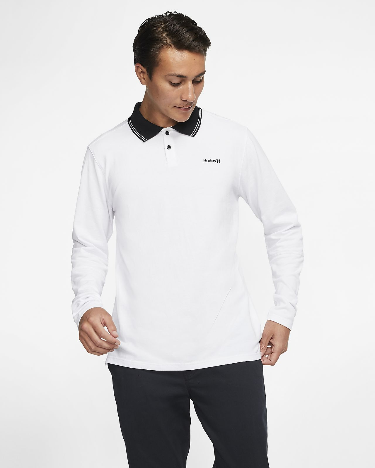 Hurley 2 Stripe Langarm-Poloshirt für Herren