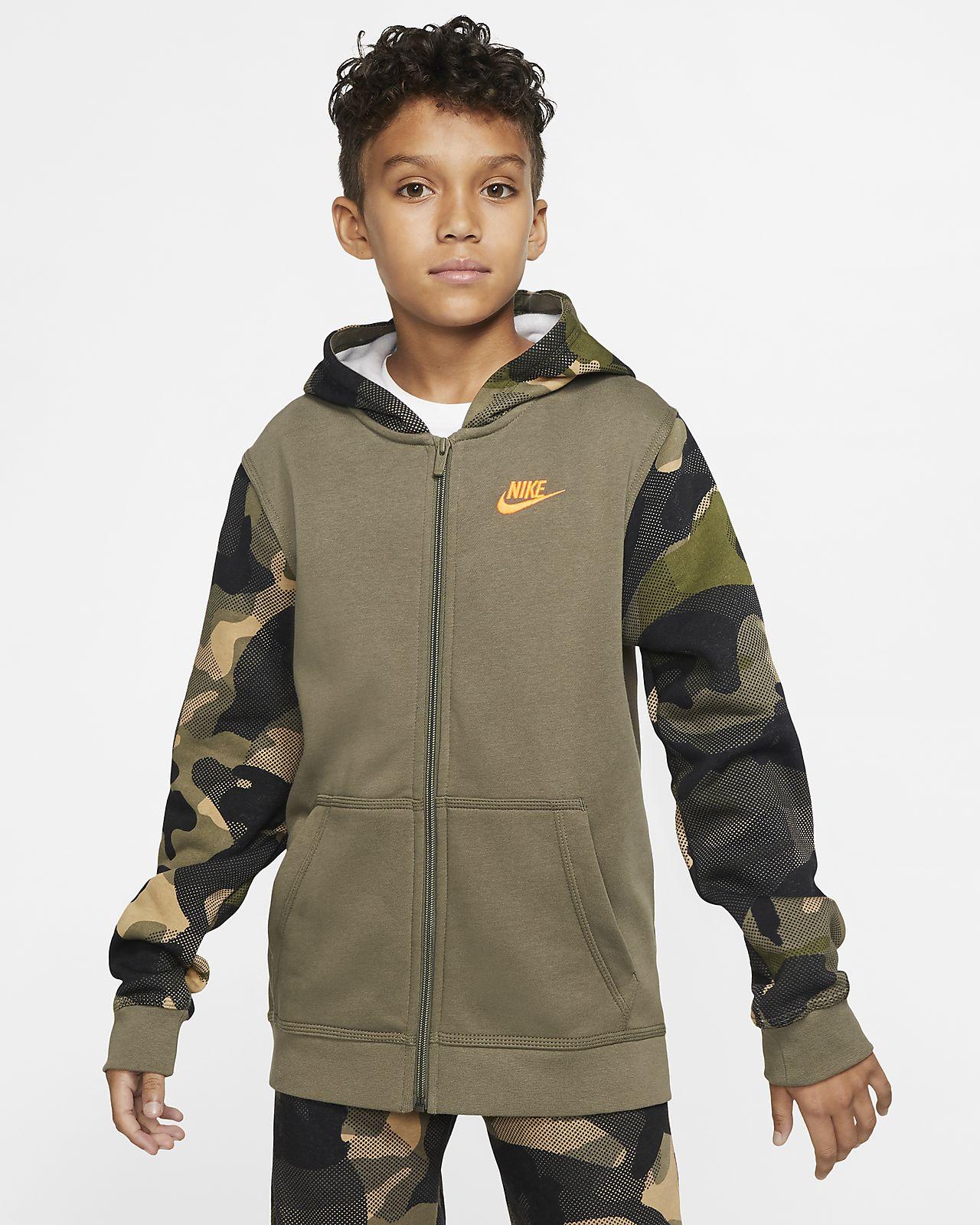 Nike Sportswear Club 大童(男孩)全长拉链开襟连帽衫
