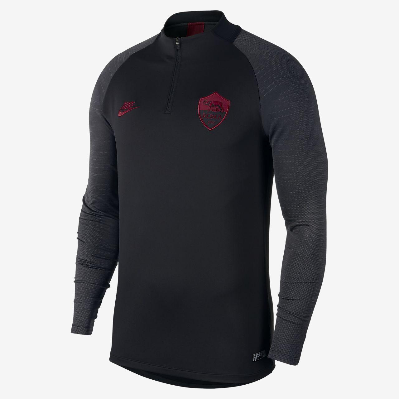 Dettagli su As Roma Nike Dry strike drill top Felpa Allenamento Training Nero 2019 20