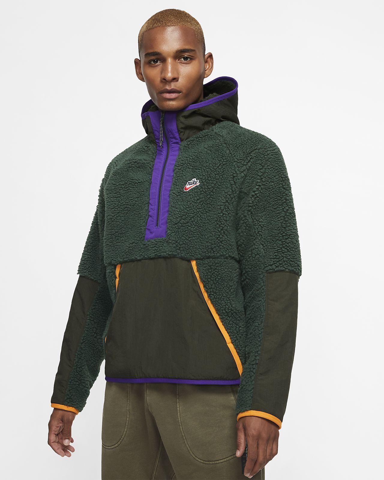SELX Men Solid Color Thicken Sherpa Long Sleeve Hoodies Sweatshirt