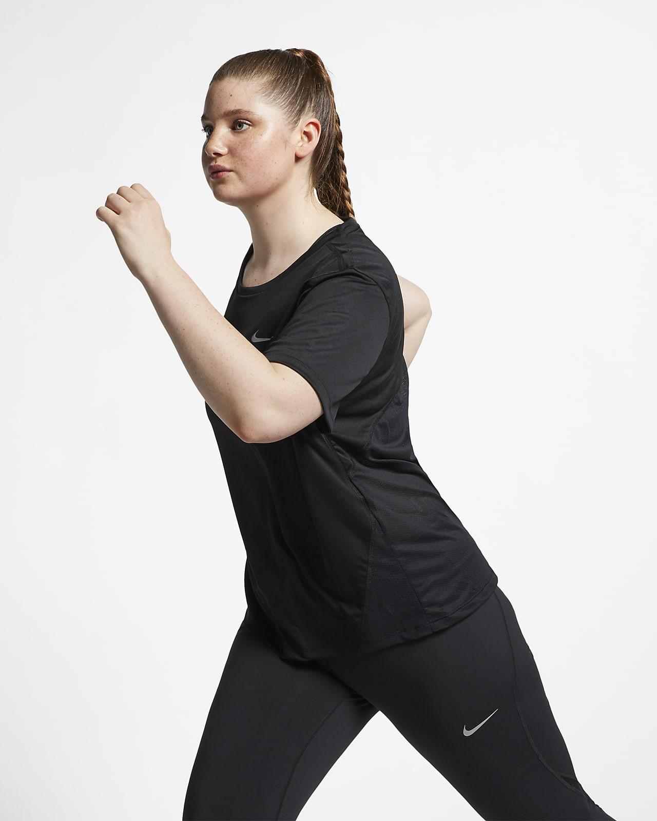 Nike Miler Kurzarm-Laufoberteil für Damen (große Größe)