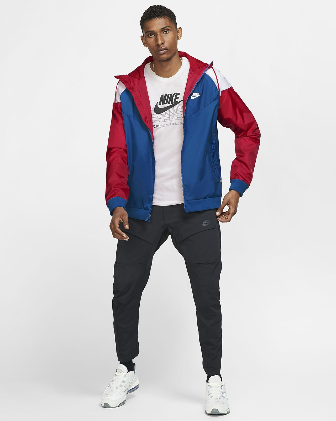 CK0163-477 Large Nike Sportswear WindrunnerTeam Royal//Gym Red//White Model