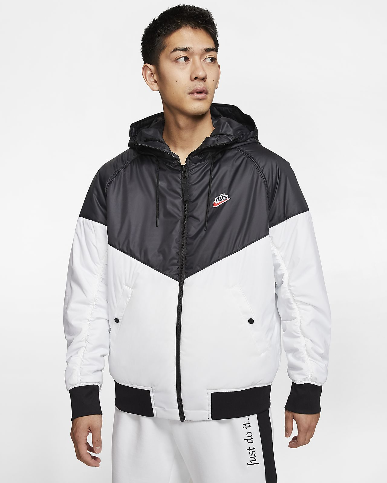 NIKE GIACCA SPORTIVA jacket windrunner Bianco con TASCHE a