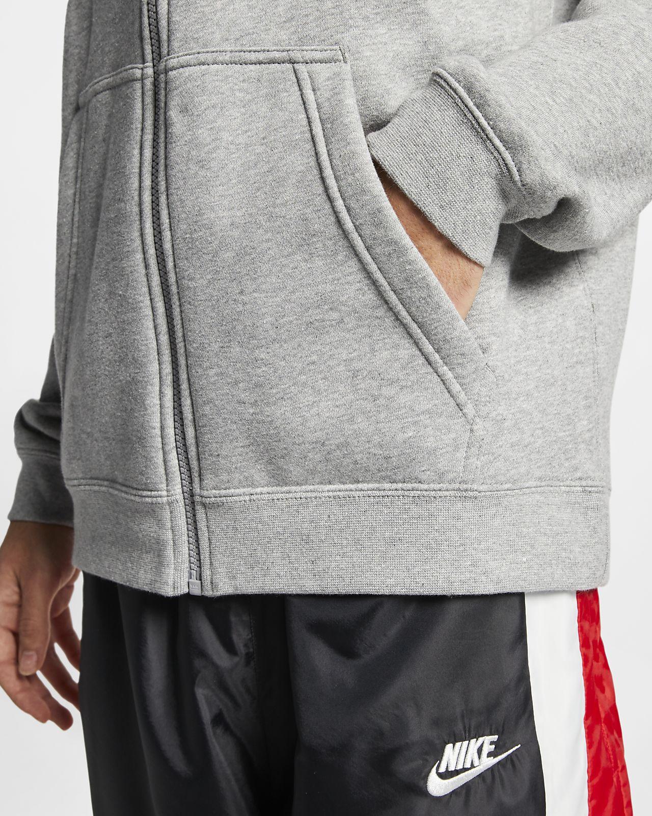 Nike Sportswear Zip Club Hooded Sweatshirt Light Grey//White 804389-063 Large