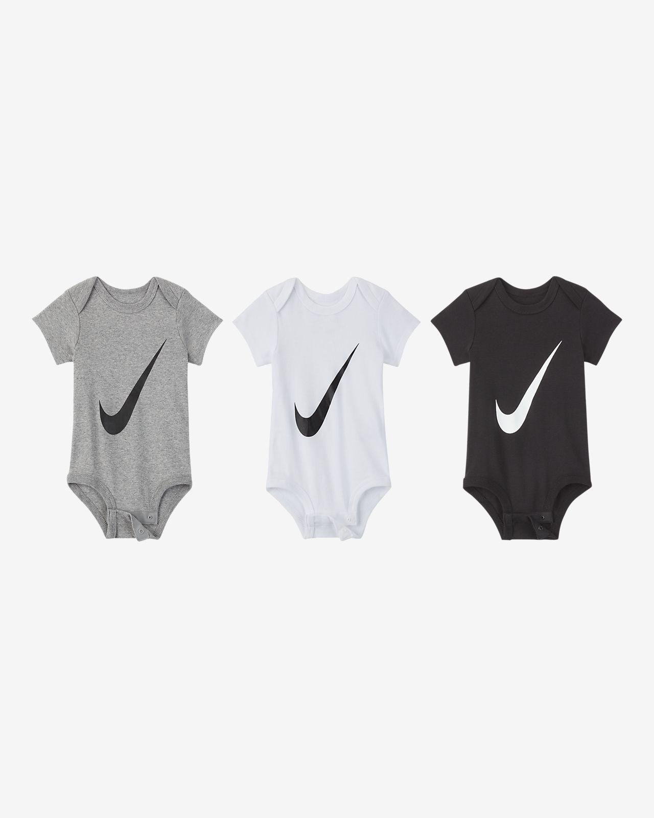 Conjunto de bodies Nike para bebé (0-6 M, embalagem de 3)