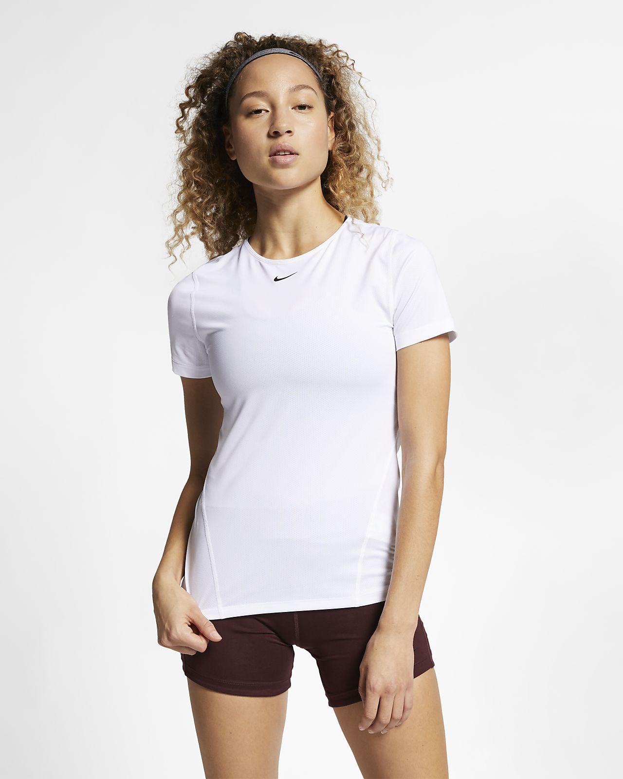 Camisola de treino de manga curta de malha Nike Pro para mulher