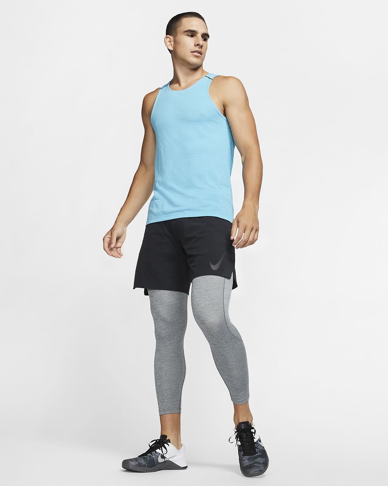 Large Black//Aqua Shaped 3//4 Tights by Better Bodies