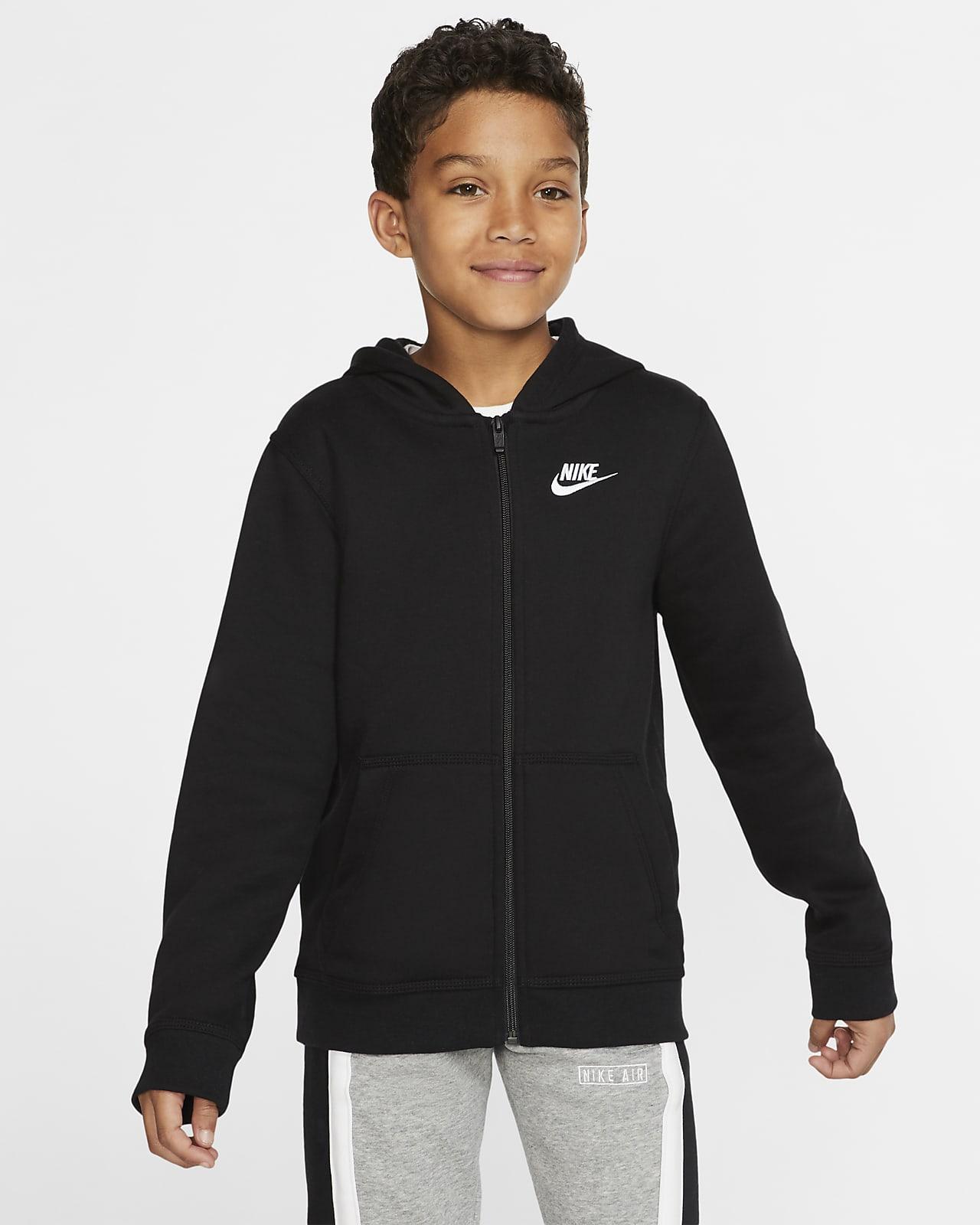 Sudadera con gorro de cierre completo para niño talla grande Nike Sportswear Club