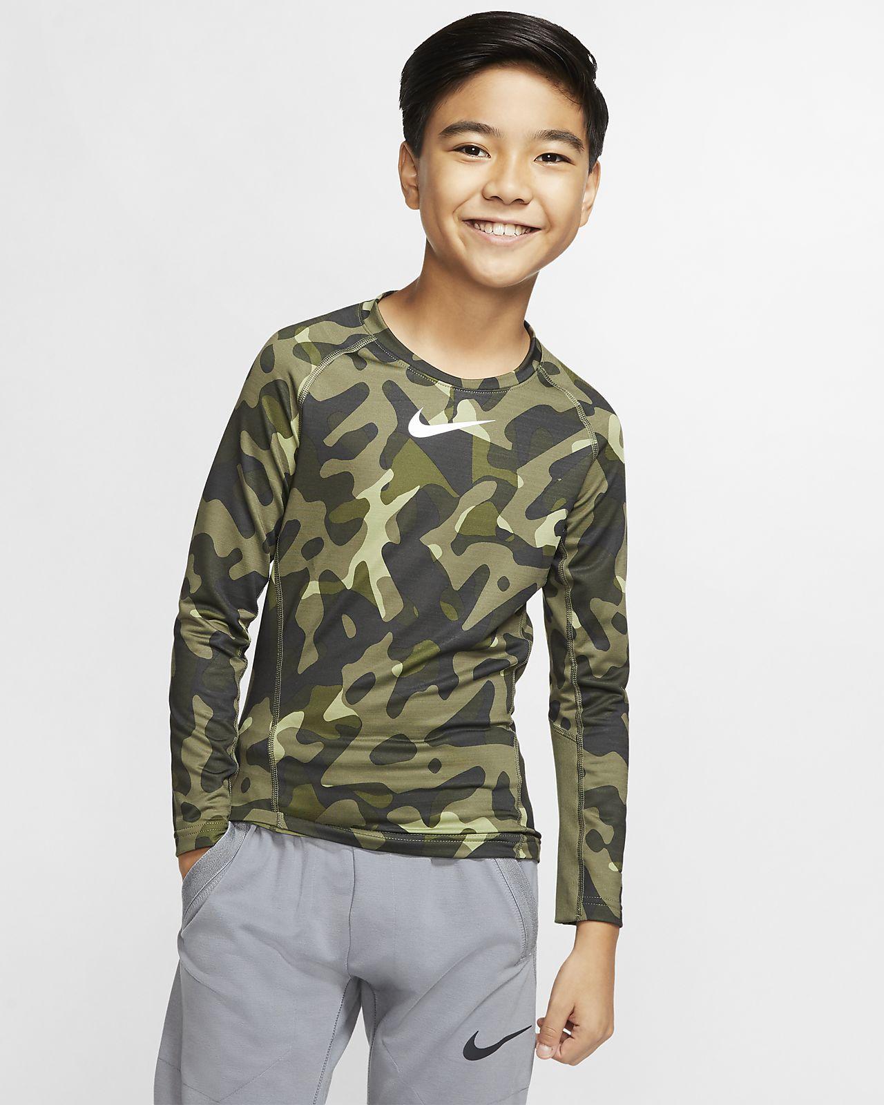 Nike Pro Warm Older Kids' (Boys') Printed Training Crew