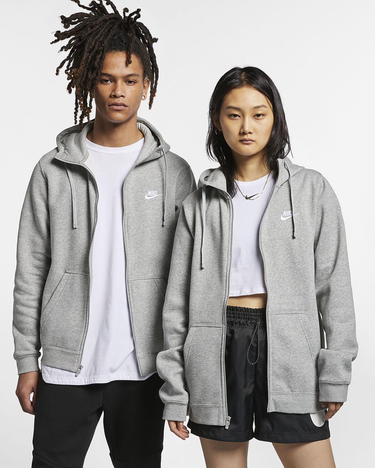 Nike Girls NSW Full Zip Hoodie Carbon Heather//White Medium