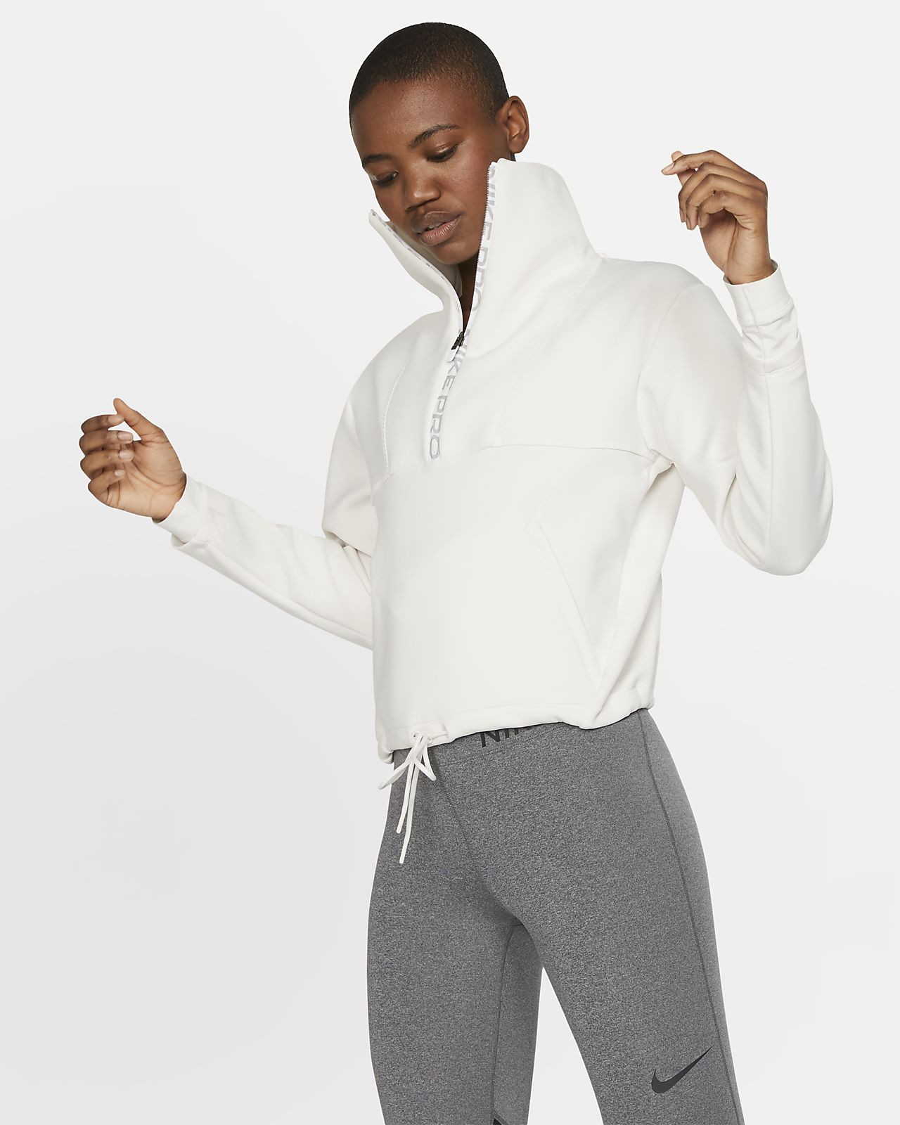 Haut court en tissu Fleece Nike Pro pour Femme