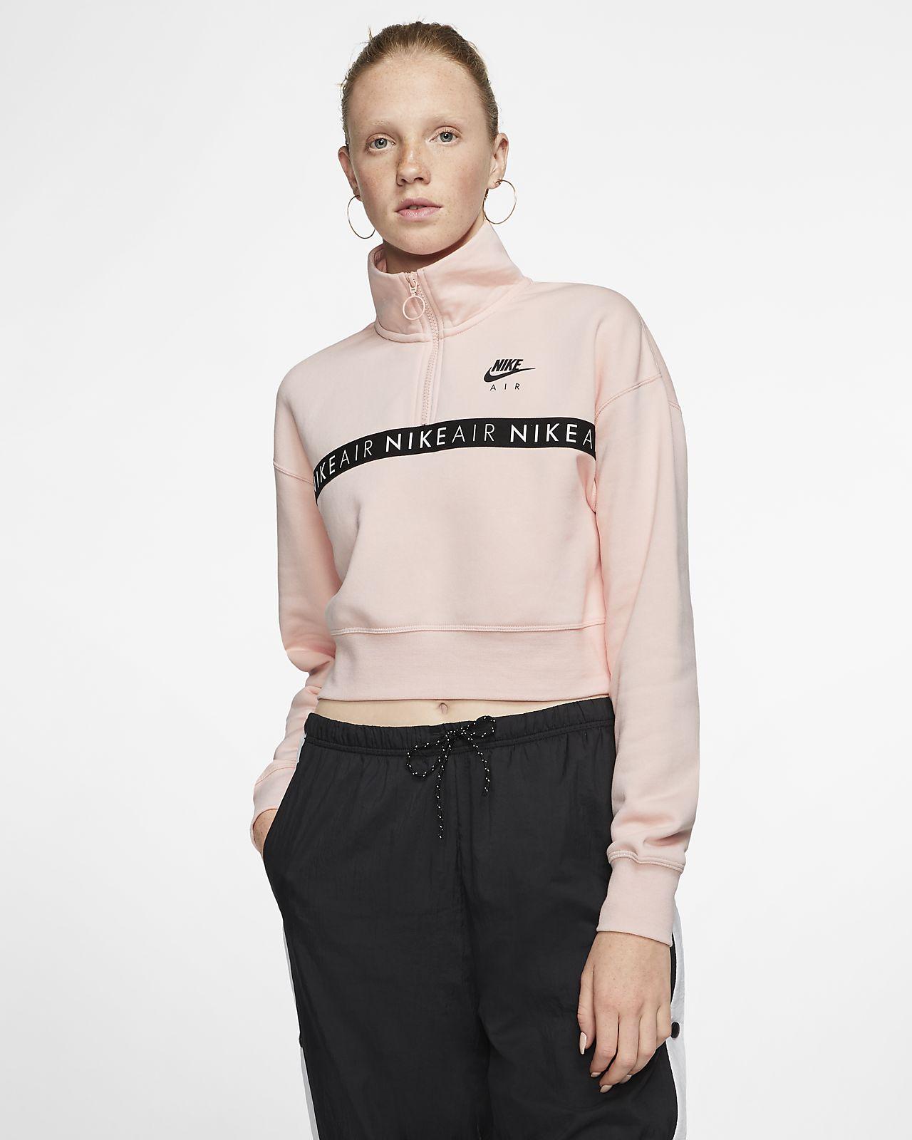 Womens Nike Air Black 14 Zip Fleece Top Black   Compare