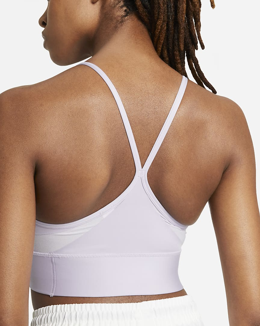 Nike Dri-FIT Indy Women\'s Light-Support Padded Longline Sports Bra Infinite Lilac/White