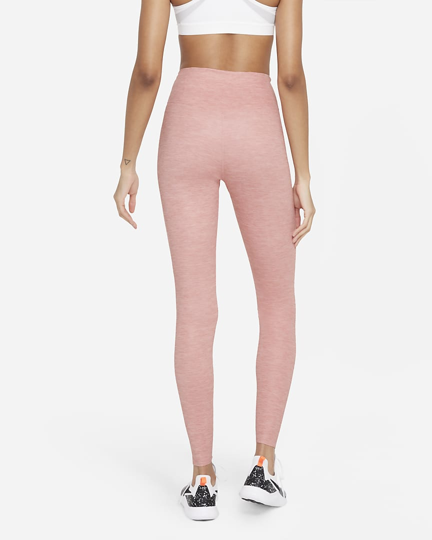 Nike One Luxe Women\'s Heathered Mid-Rise Leggings Rust Pink/Clear