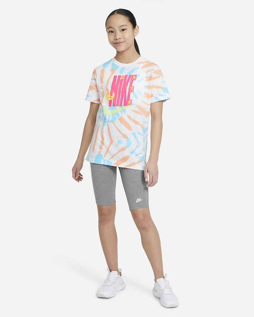 Nike Sportswear Big Kids\' T-Shirt White/Peach Cream/Chlorine Blue