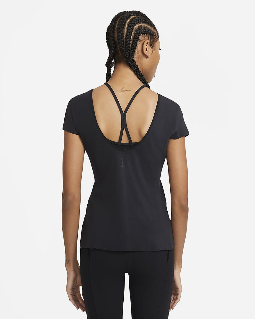 Nike Yoga Luxe Women\'s Short Sleeve Top Black/Dark Smoke Grey