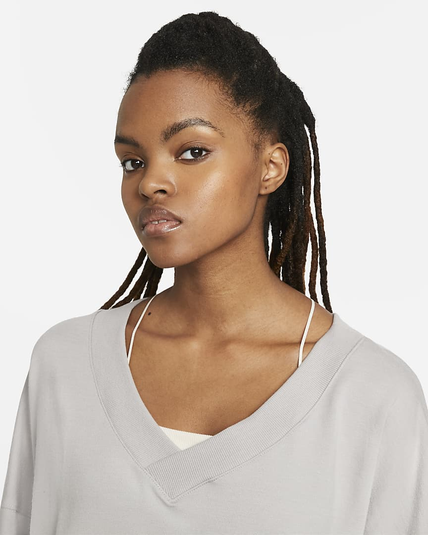 Nike Yoga Luxe Women\'s Fleece V-Neck Top College Grey/Platinum Tint
