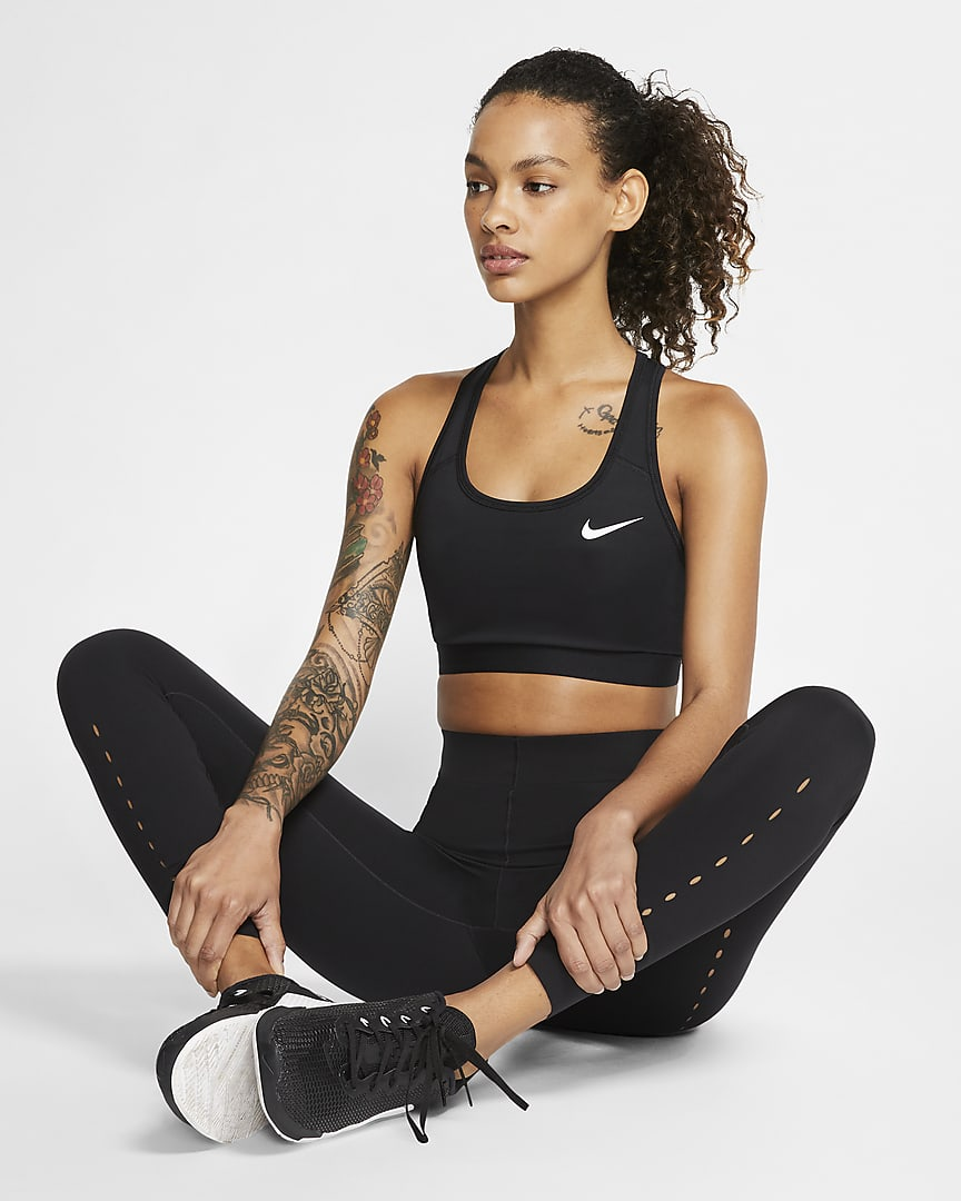 Nike Dri-FIT Swoosh Women\'s Medium-Support Non-Padded Sports Bra Black/Black/White