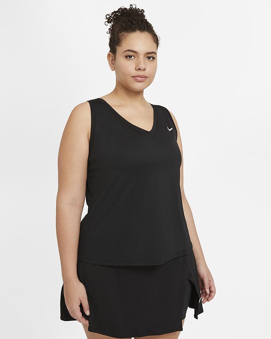 NikeCourt Victory Women\'s Tennis Tank (Plus Size) Black/White