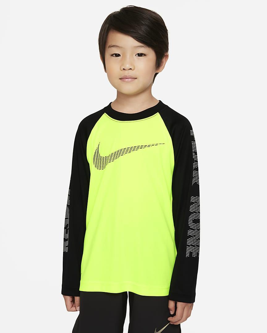 Nike Dri-FIT Little Kids\' Long-Sleeve T-Shirt Volt