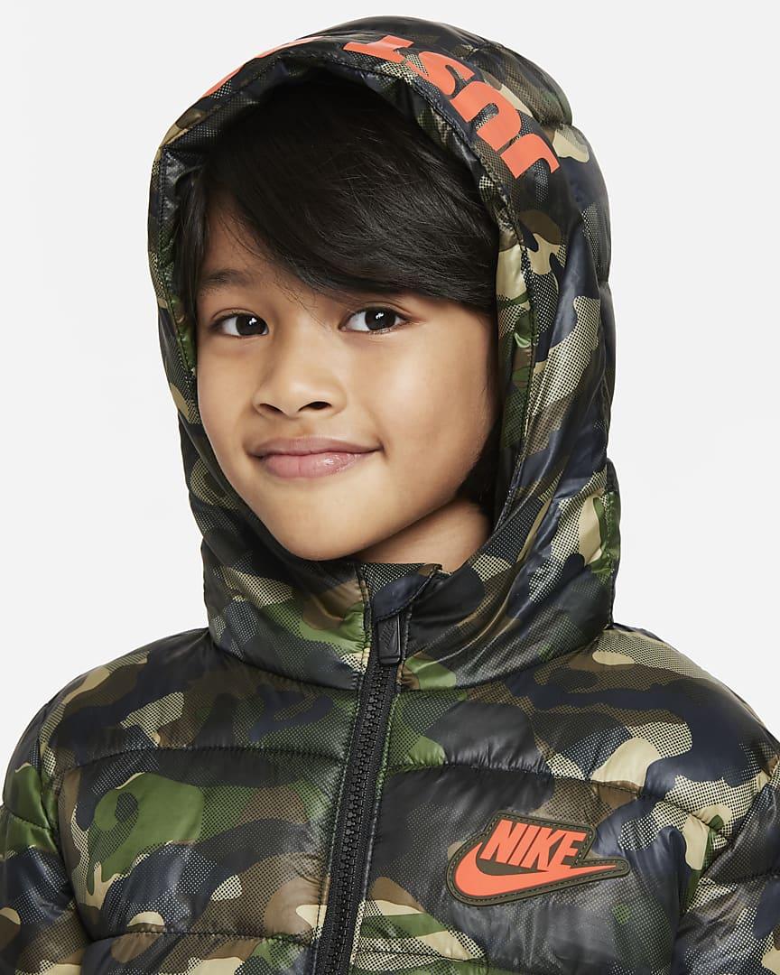 Nike Sportswear Little Kids\' Puffer Jacket Camo Green