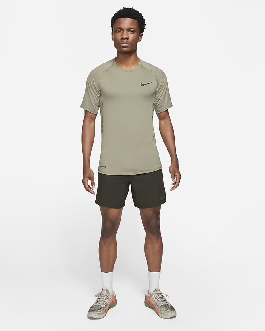 Nike Pro Men\'s Short-Sleeve Top Light Army/Black